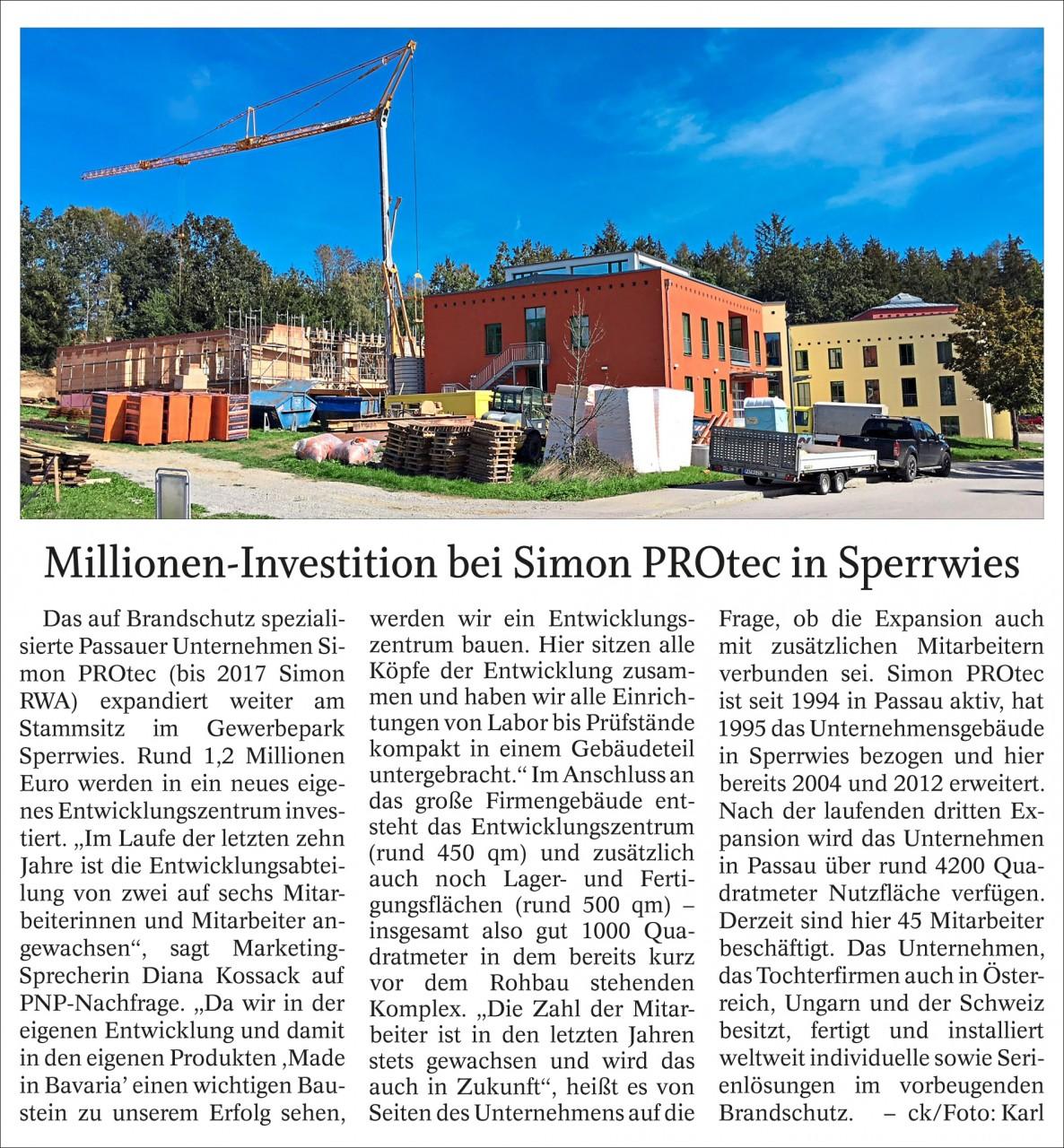 Millionen-Investition bei Simon PROtec in Sperrwies (Veröffentlichung in der PNP)